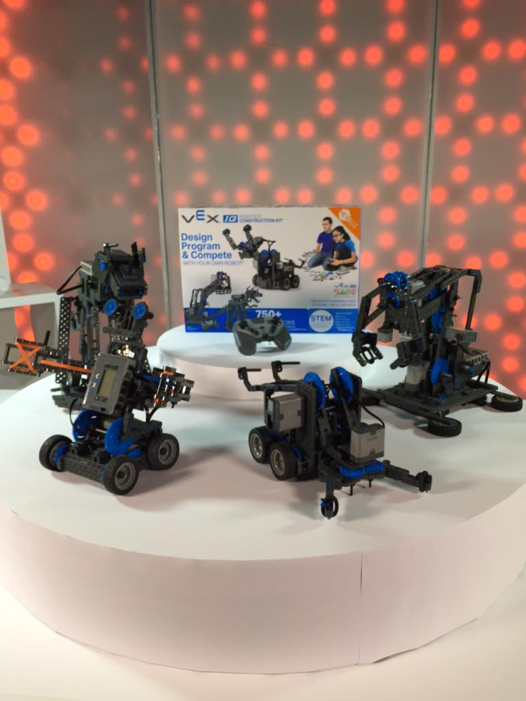 A few builds from the VEX IQ Robotics Construction Set on display from day two of shooting! #robots #STEMeducation http://t.co/oR2FxEZbq2