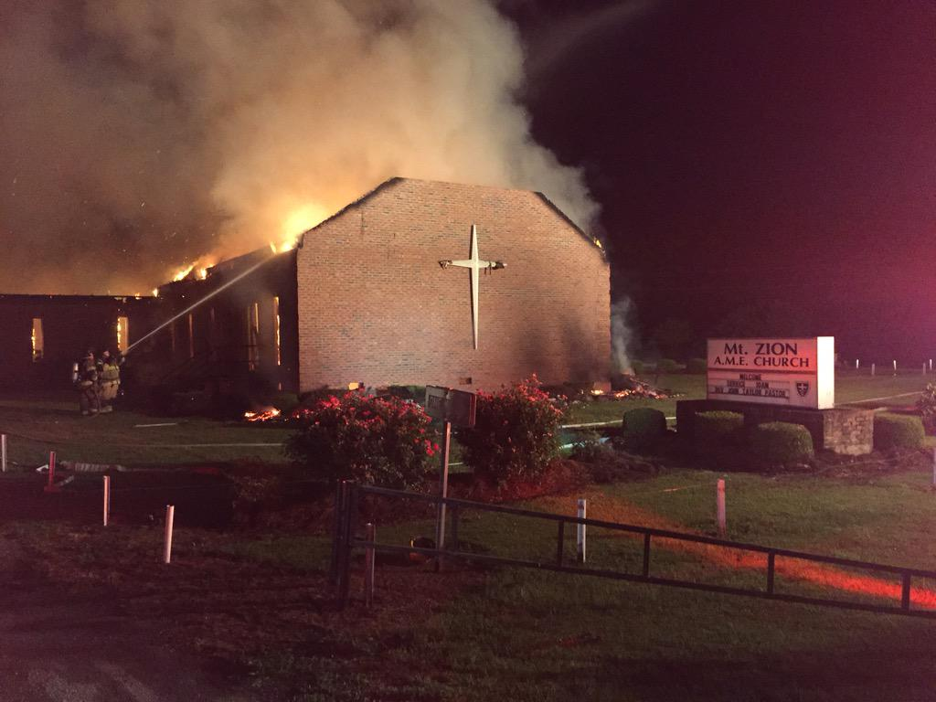 Church burned down by Klan in 1995 is on fire again 2nite in SC. Mt Zion AME latest in recent fires @ black churches. http://t.co/0kZUh8fW5L