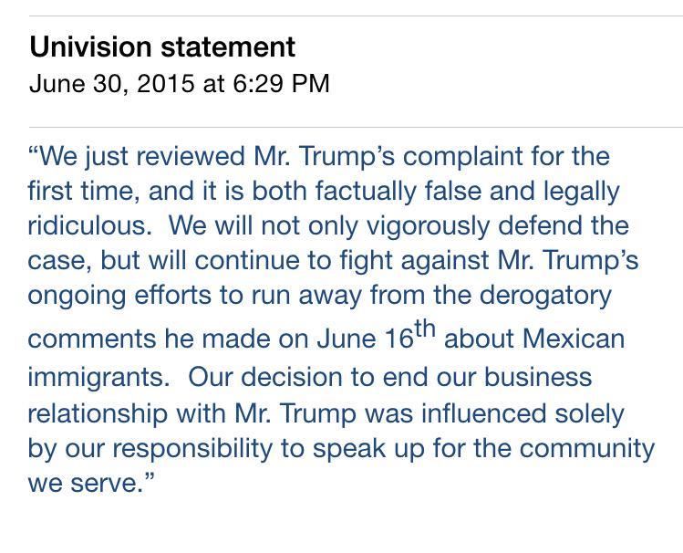 Donald Trump Files $500 Million Lawsuit Against Univision