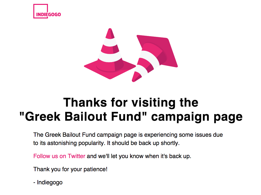 Update: That crowdfunding campaign to bail out Greece is back online after swamping Indiegogo
