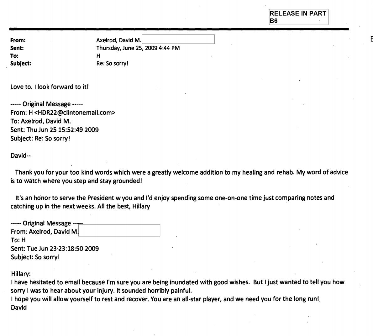 Axelrod, Podesta, Mikulski, all emailed Hillary's private server