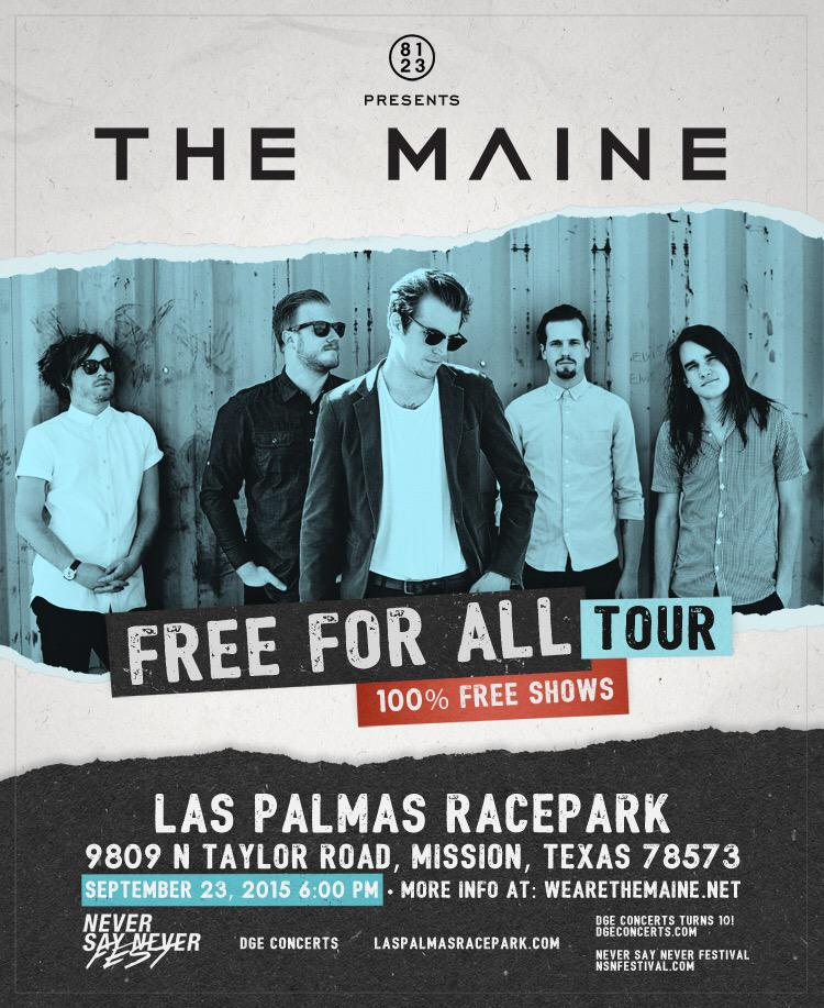 FREE FOR ALL TOUR! w/ THE MAINE! Sept 23 @LasPalmasRace & yes its free. @themaine http://t.co/HrdLSHkf1N RT http://t.co/WgpOp78bBt
