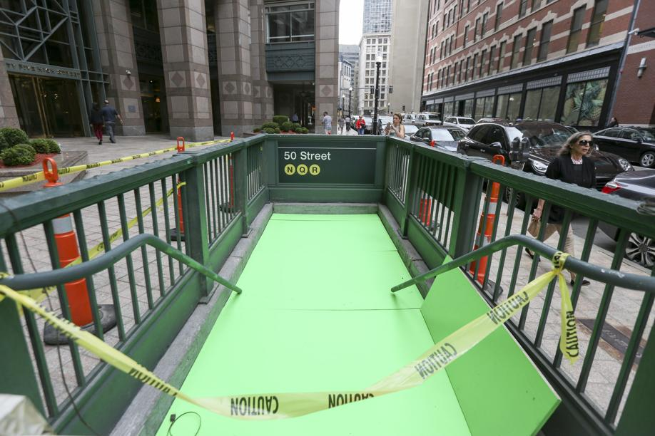 Fake NYC subway in Boston Financial District for Ghostbusters. As taken by @BostonGlobe's Keith Bedford. http://t.co/W0c7VGvU7V