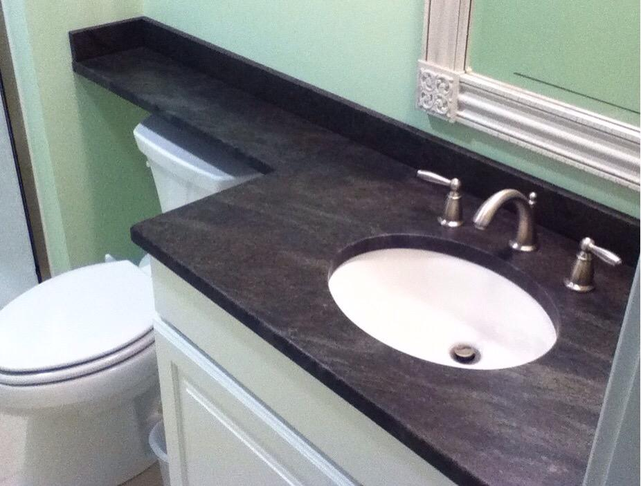 Granite Man On Twitter A1 Consider A Banjo Style Vanity Top In Smaller Baths To Get Extra Counter Space Over Toilet