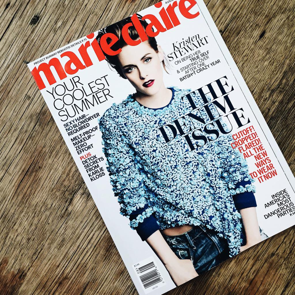 #KristenStewart wears @Carven_Paris on the cover of @MarieClaire's August 2015 issue. #Carven http://t.co/pouU9LYKRB