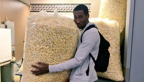 These Giant Bags Of Popcorn Are Making An Nba Rookie Look Small Via Brooklynnets