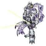Image for the Tweet beginning: ヴォルフモン ハイブリッド体 戦士型 ヴァリアブル  必殺技:リヒト・ズィーガー、ツヴァイ・ズィーガー 光の能力を持つデジモン。身体の各部にある薄紫のパーツは、聖なる光が封じ込められているセントアメジスト。