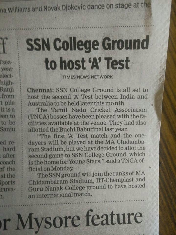 My college is hosting 'A' test match between India and Australia!! #whatay http://t.co/QiPMxC2yVX