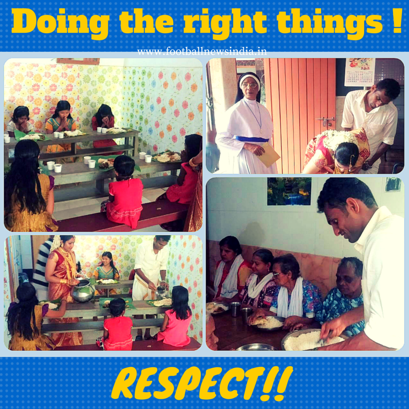 #Respect : @ckvineeth sponsored the lunch at an orphanage/destitute home on his wedding day  #Indianfootball #Kerala http://t.co/Az4vlB5cAU