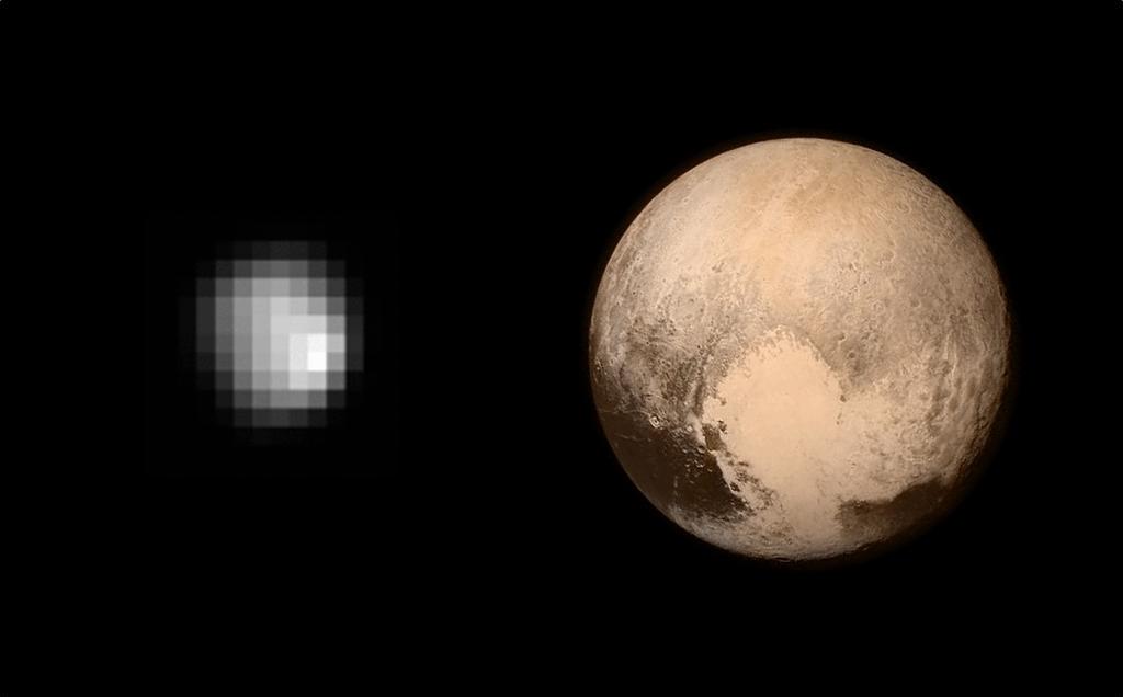 La antigua imagen que había de Plutón y la actual. Carl Sagan estaría llorando http://t.co/63Lm5seFIC