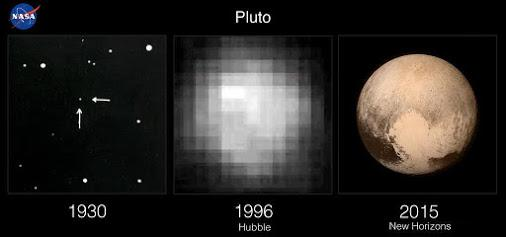 Photos of Pluto in 1930, 1996, and 2015 http://t.co/Nfw63iQBjG