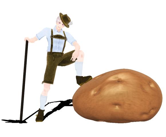 芋に使える格好良い外交ポーズ。model:ムキムキの人様。accessory:ちび様、まお様 http://t.co/x82tTpLRz9