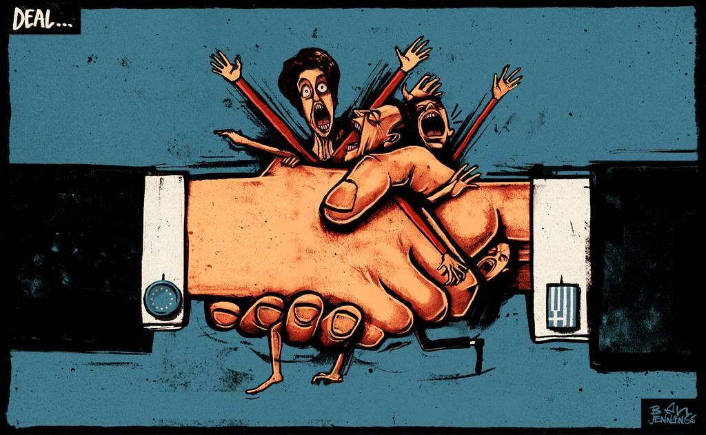Scathing Political Cartoons Take On Greece, Eurozone's Unpopular #GreekMent