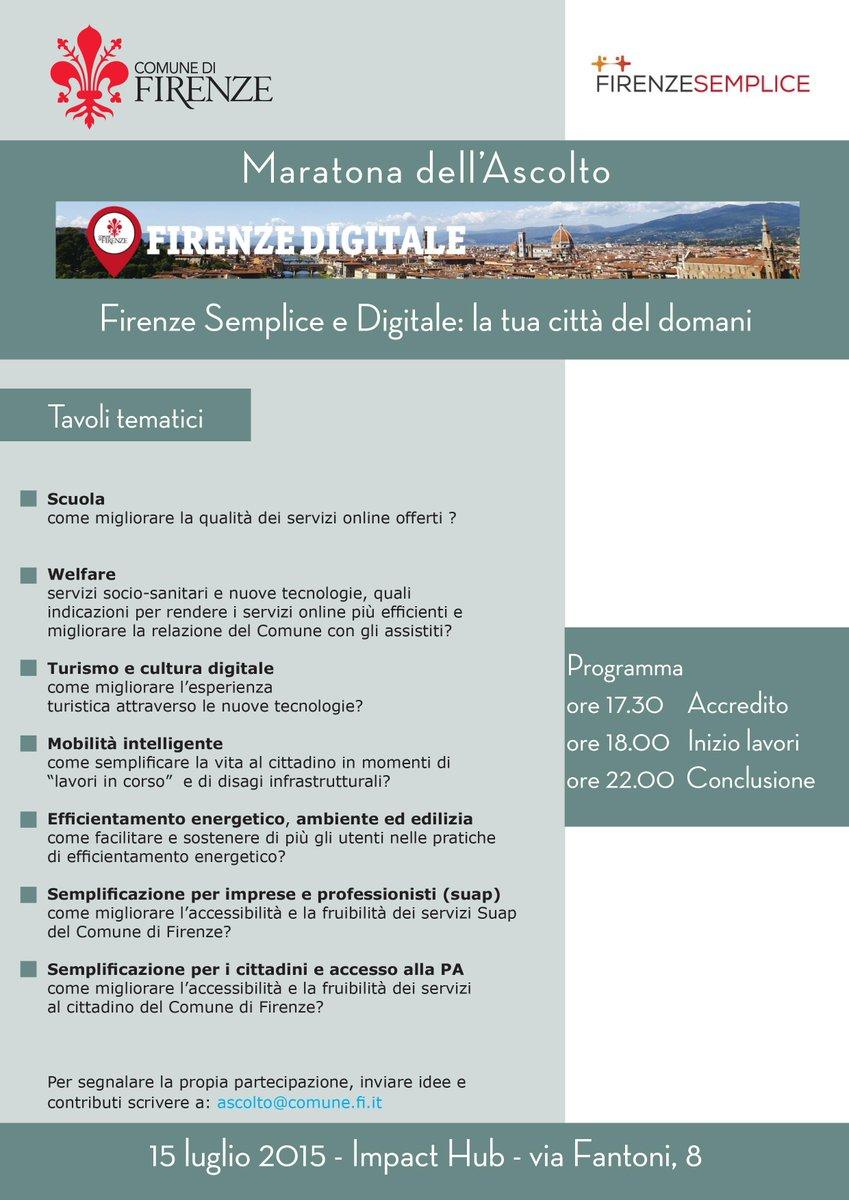 RT DarioNardella: Firenze semplice e digitale: 15/7 la IV #MaratonaAscolto. 7 tavoli tematici per confrontarci sul… http://t.co/g9gYcmDExz