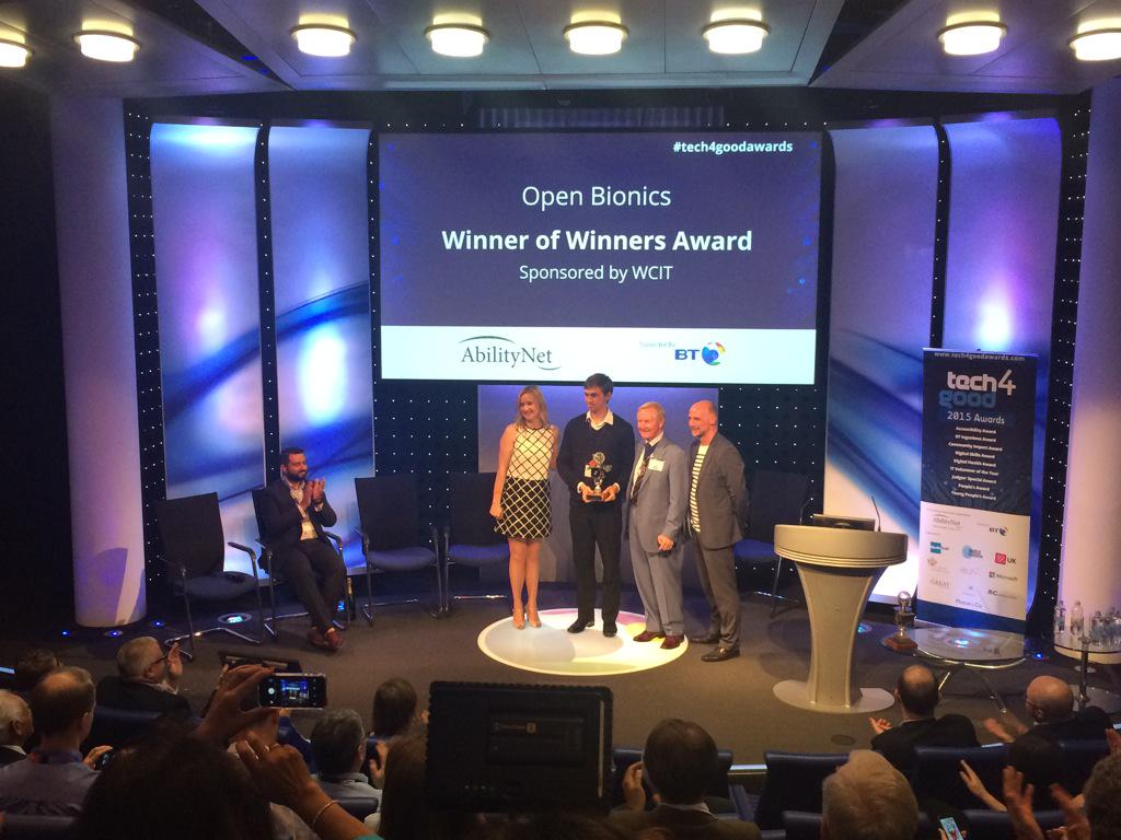 Open Bionics mechanical engineer accepting the Tech4Good Winners Winner awards
