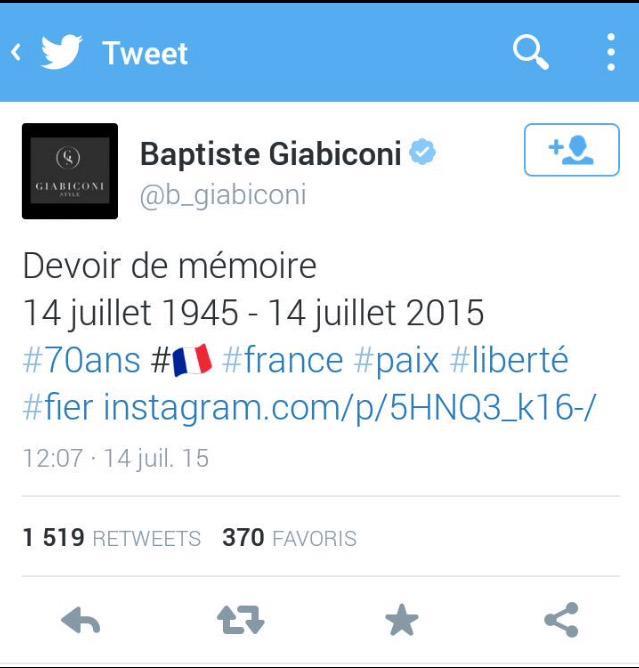 Baptiste Giabiconi tweet le 14 juillet 1945 et devient la risée du web