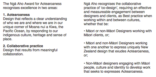 Great kaupapa for the Aotearoaness awards from Nga Aho. Criteria on 'Aotearoaness' & Collaboration #dsi2015 http://t.co/1GSK84fENW