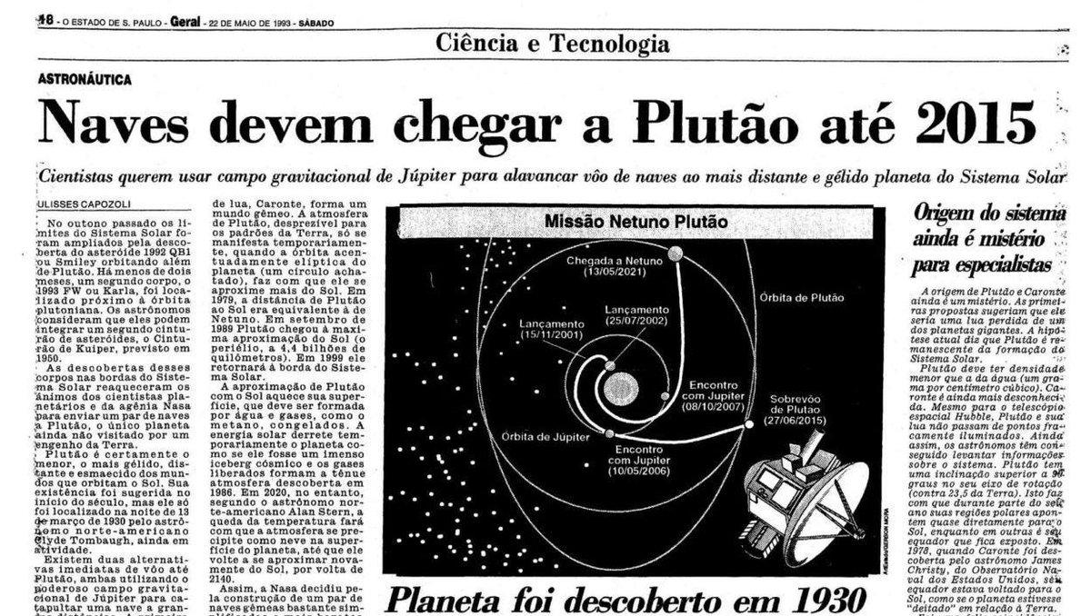Rumo a Plutão. Matéria de 1993 do @Estadao anunciava previsão de chegada ao planeta até 2015. http://t.co/14Nau5Naia http://t.co/j9m5uYW2ct