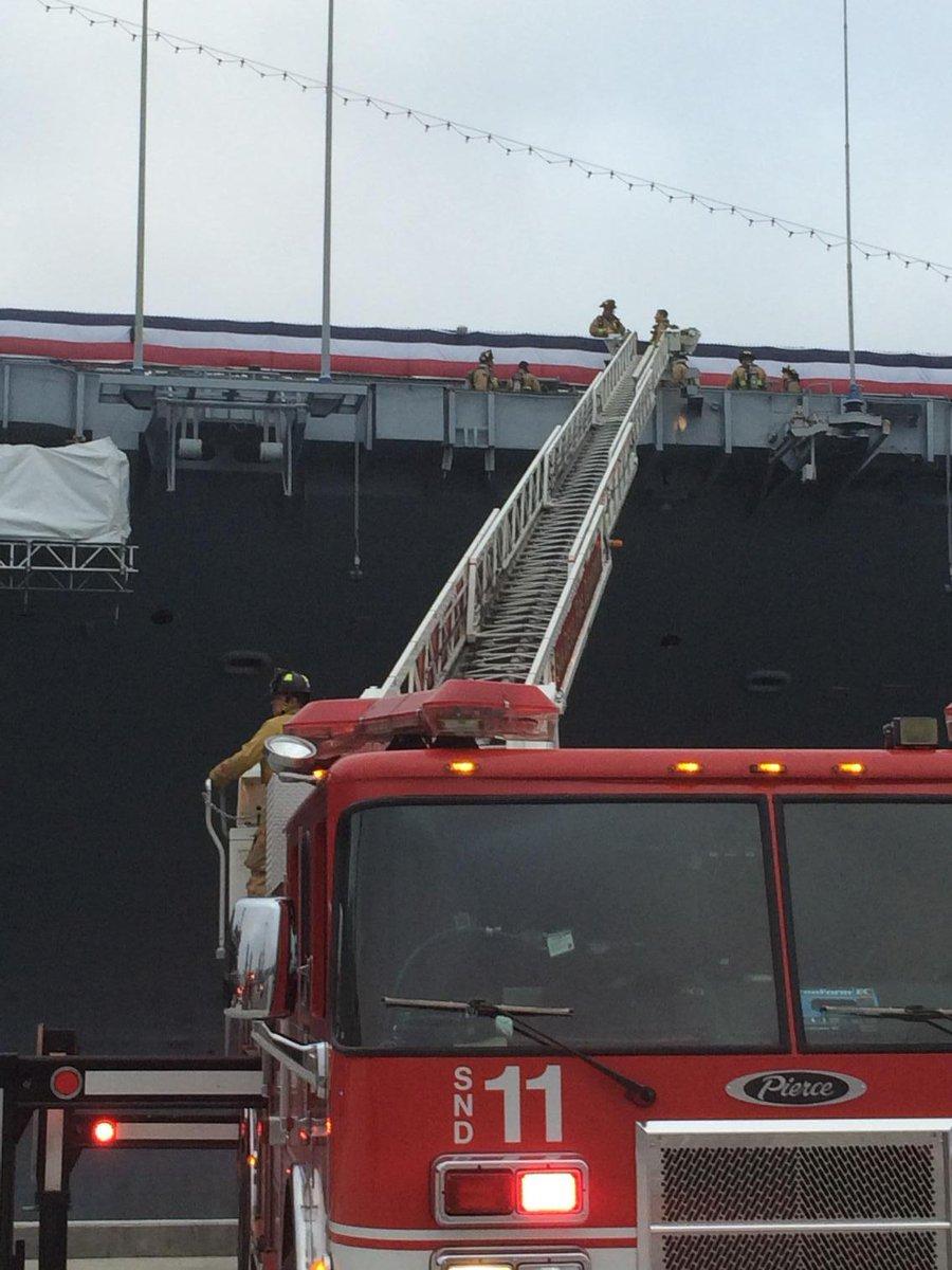 HAPPENING NOW 3 alarm fire on USS Midway two decks below the flight deck. http://t.co/r3EQ0xB5Ek