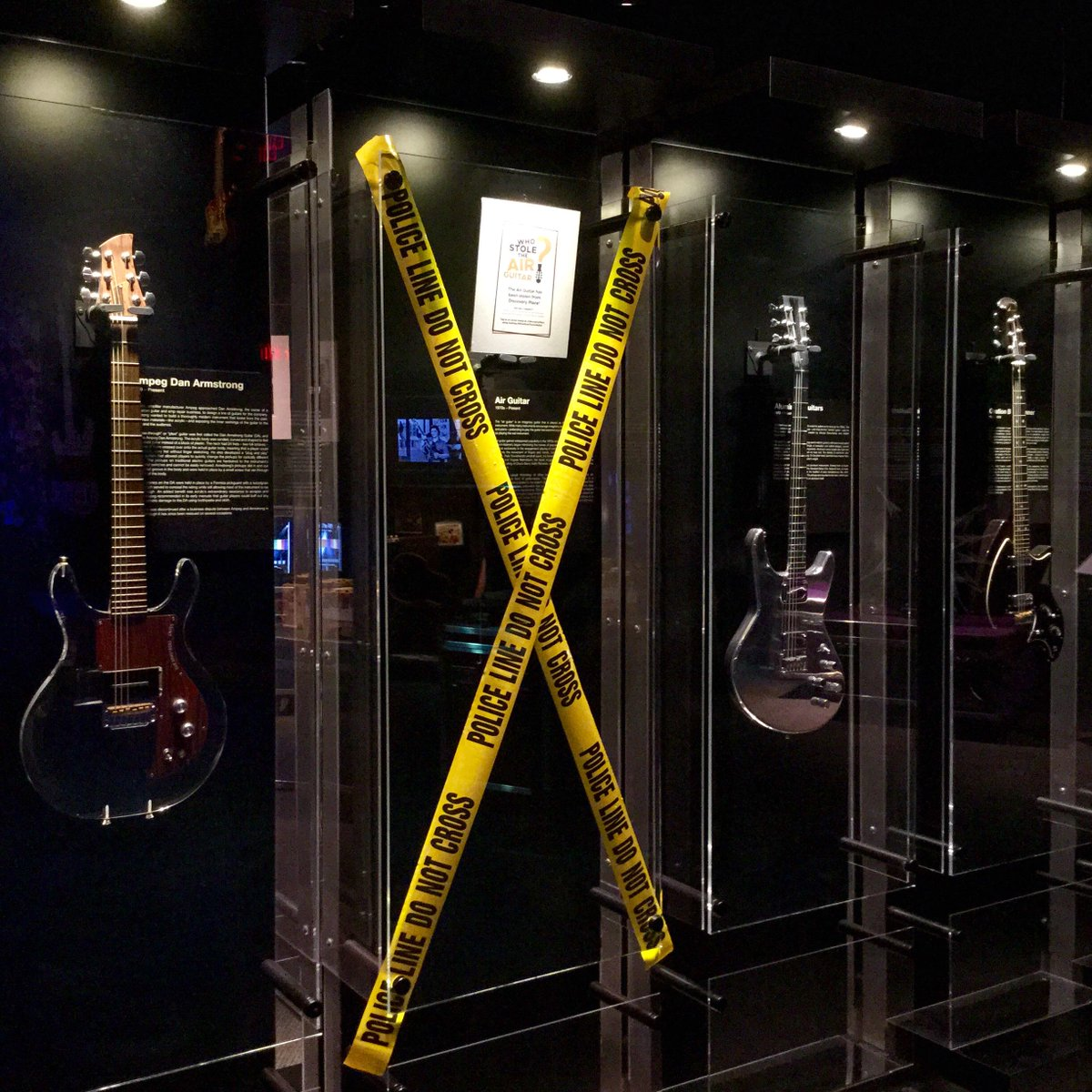 BREAKING: Air Guitar Stolen from Discovery Place Exhibition. Have you seen it? #WhoStoleTheAirGuitar #clt http://t.co/Vu7qgI0FLV