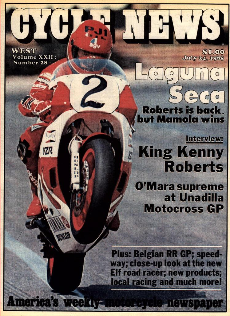 My first @CycleNews cover shot. The King. Laguna Seca. 1985. Real film. Headed that way now. #WheelieWednesday http://t.co/n8U4IpG967