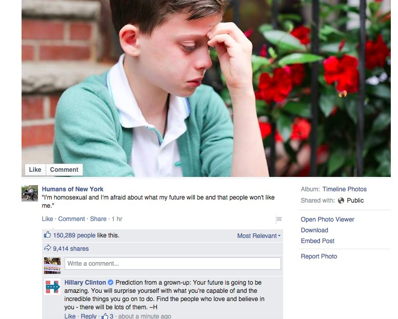 Hillary Clinton sends support to gay teenager on Humans of New York Facebook page