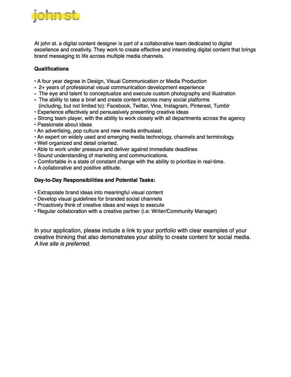 """John St. On Twitter: """"We'Re Hiring! Send Your Resume/Cover Letter"""