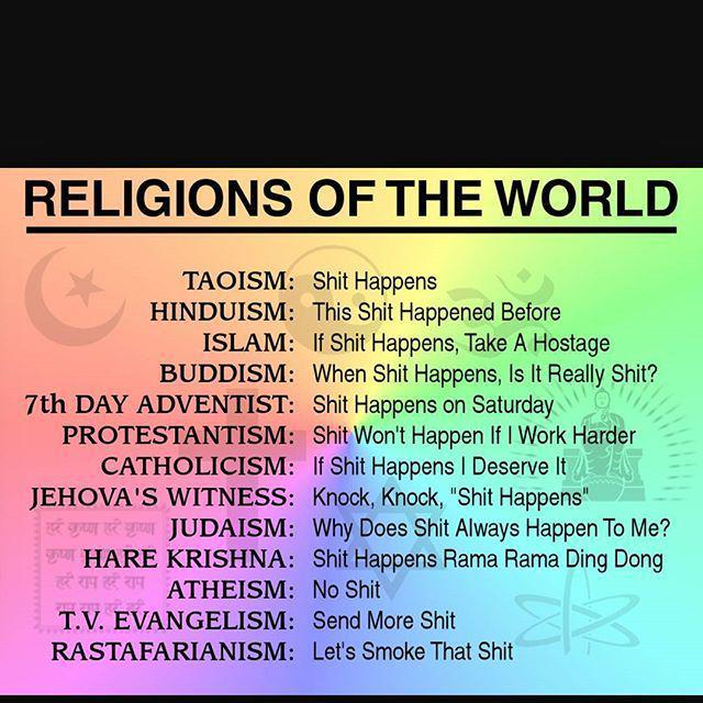 #shittthappens #shithappens #buddha #taoism #religion #funny #namaste #shit #funnyreligion #rastafarian #peace #pos…