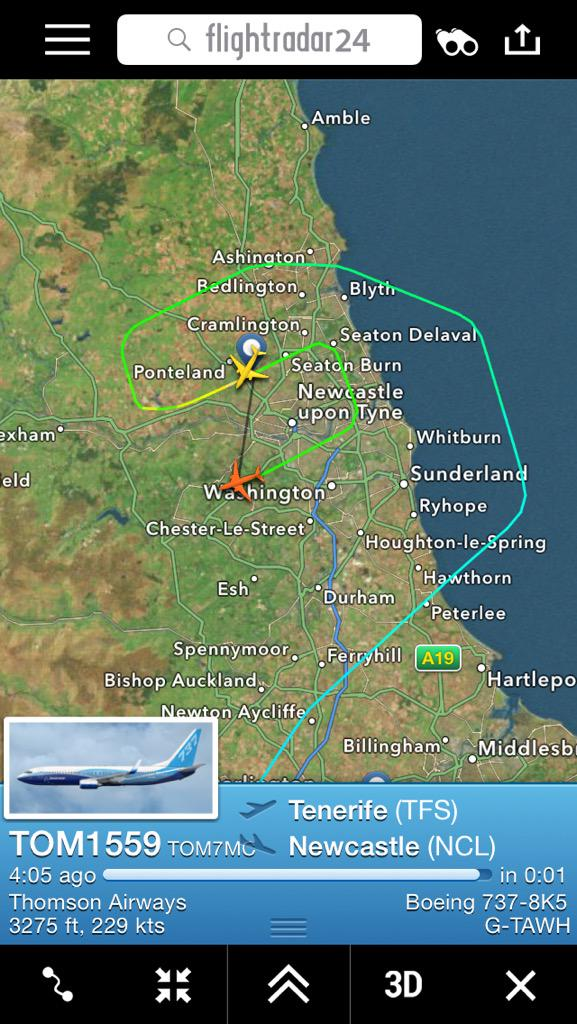 Live: tricky weather at newcastle, uk - aborted landing for