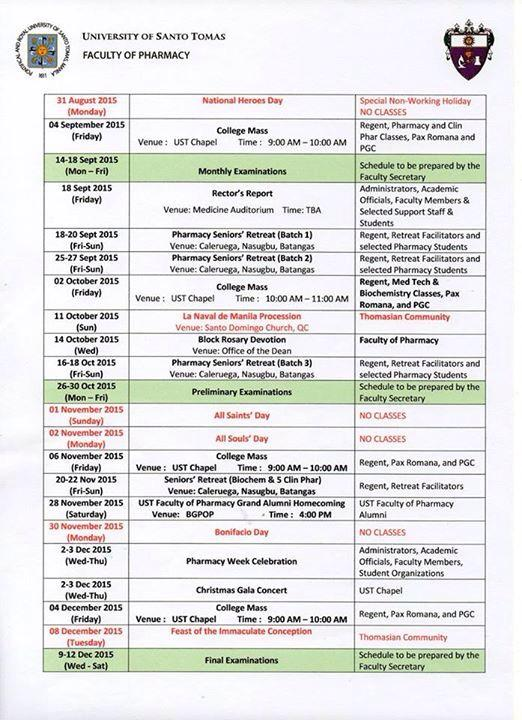 Ffpsc Calendrier 2019.Your Fpsc On Twitter Ust Faculty Of Pharmacy Calendar Of