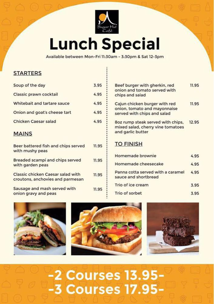 If you are on the High Street today why not enjoy lunch in the @sugarhutcafe 2 Courses for £13.95 #Saturday http://t.co/ERLnJdFmxE