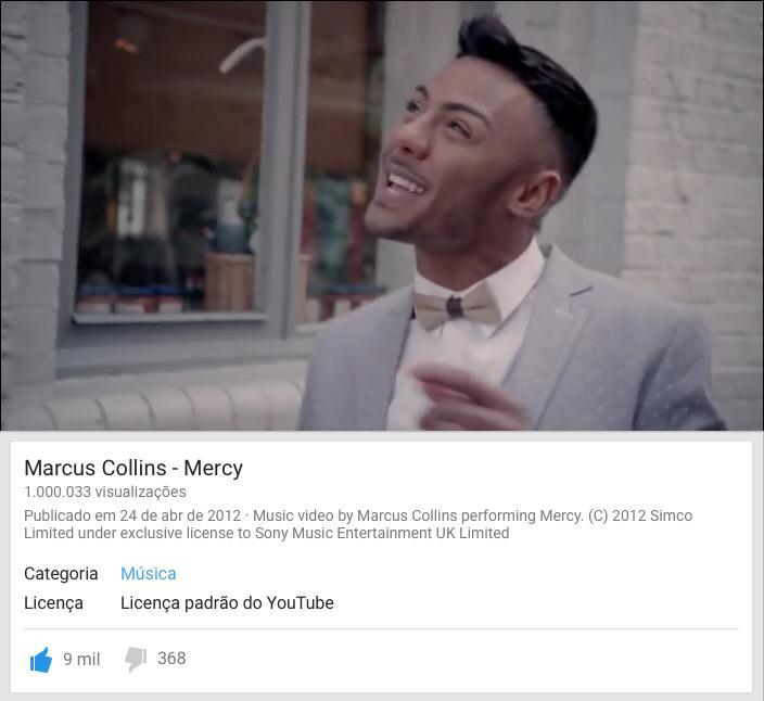 RT @lokapelotrio: @marcuscollinsuk - Mercy - 1 million views from YouTube: http://t.co/0lJvs5hqDL