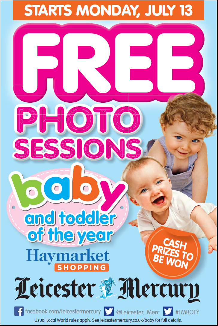 RT @Leicester_Merc: Baby of the Year Free Photo session at #Haymarket shopping centre starts Monday 13th July! #LMBOTY http://t.co/Fafo5CPC…