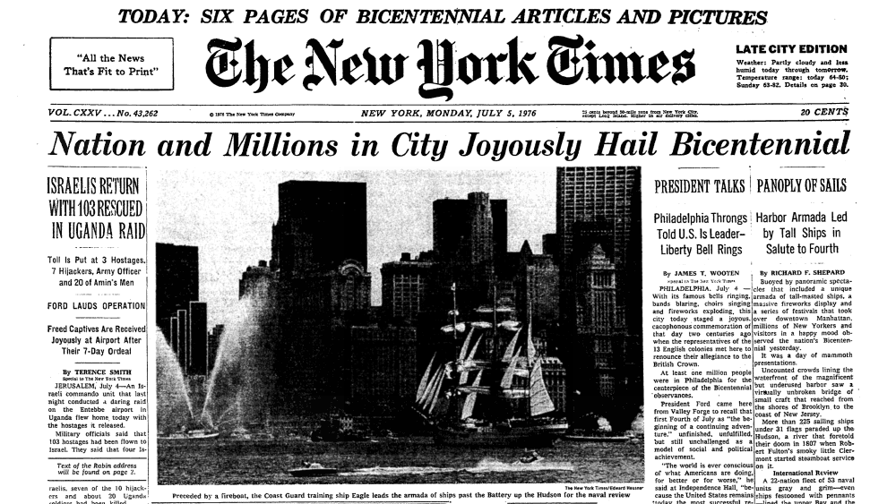 """NYT Archives on Twitter: """"July 4, 1976 