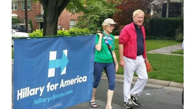 NBC's Chris Matthews seen marching in Hillary Clinton parade