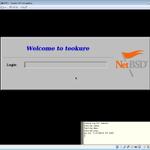 VirtualBox上 xdmログイン画面 「ておくれへようこそ」