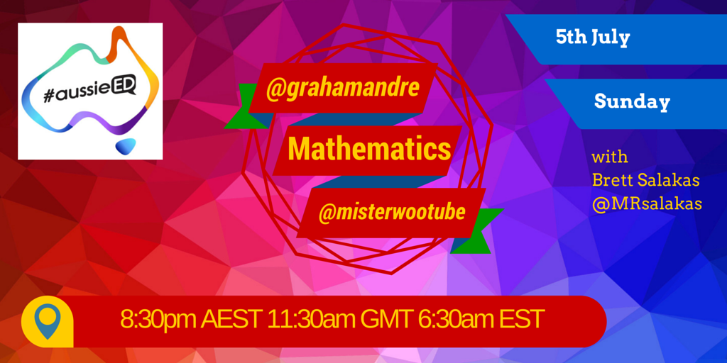 @70nya @bronwyngwright @canozus @MRsalakas: Join #aussieED for our Maths chat. Visit http://t.co/WcXO2Dtcwh too!!!!! http://t.co/8ij6uOSMW6