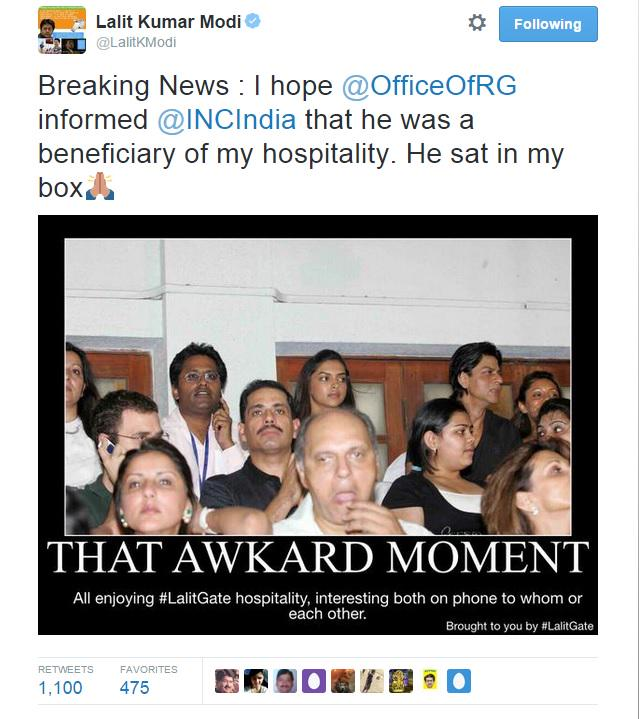 CONgress wanted the BJP leaders who were clicked with @LalitKModi to quit... but don't have anything to say to this: http://t.co/rSedk57ihH