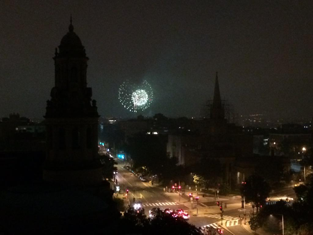 View of the National Mall fireworks from Columbia Heights. http://t.co/4taQvhmun9