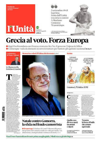 "a newspaper describing #Greekreferendum as ""national egoism"" cannot be the one once founded by our Antonio Gramsci http://t.co/qJzJJzZTLb"
