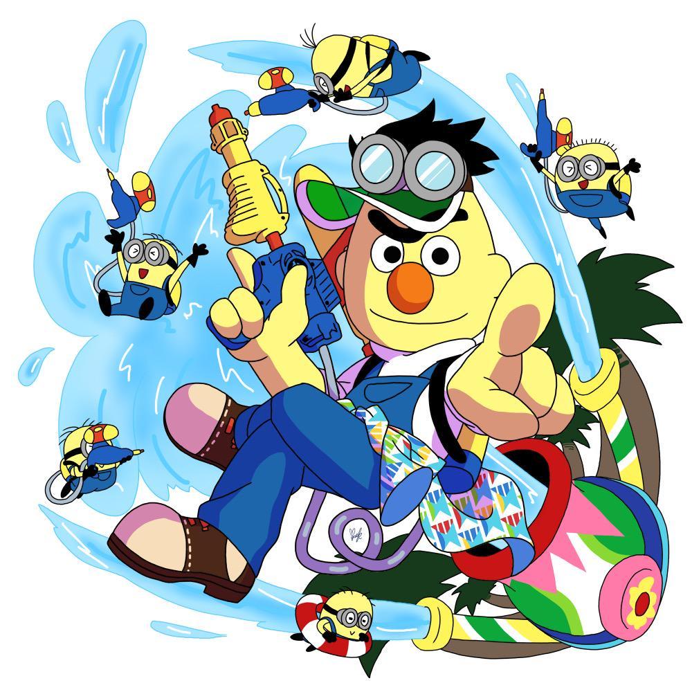 水パのバートとミニオン描いてみた(♡´艸`) バナナ繋がりでバートにミニオン衣装着させて、尚且つあの柄シャツを長袖に改造して腰に巻かせて、更にダンサーさんのサンバイザーも付けさせてみた(♡´艸`)