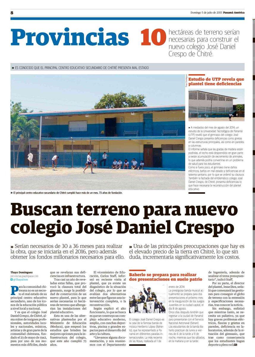 ProvinciasPA Buscan terreno para nuevo colegio José Daniel Crespo. Vía   ThaysDom http  36094d442a2b3