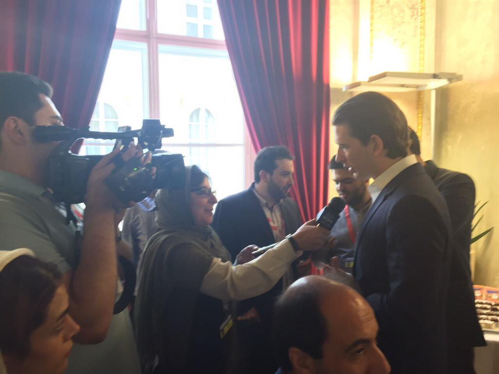 "A brief ""Austrian"" break at @MFA_Austria for the 560 journalists attending #IranTalks in Vienna. Happy 2 have U here! http://t.co/JegqkHOIO4"