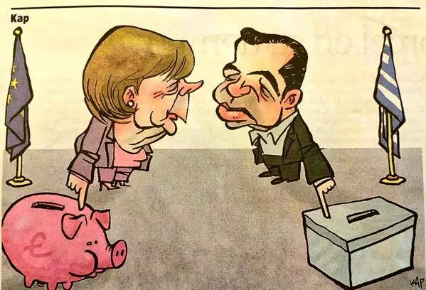 Merkel, Greek prime minister Tsipras, austerity and democracy, cartoon