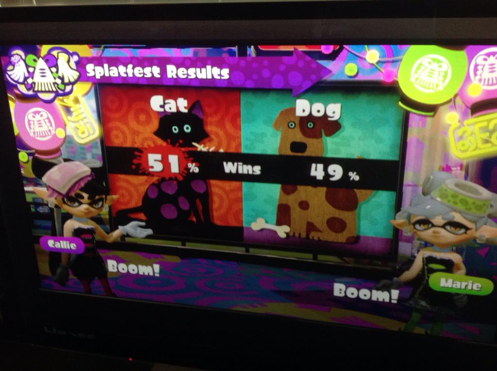 We may be few, but we fought hard, and fought strong. #TEAMCAT #Splatfest #Splatoon http://t.co/oMdOiITBKL