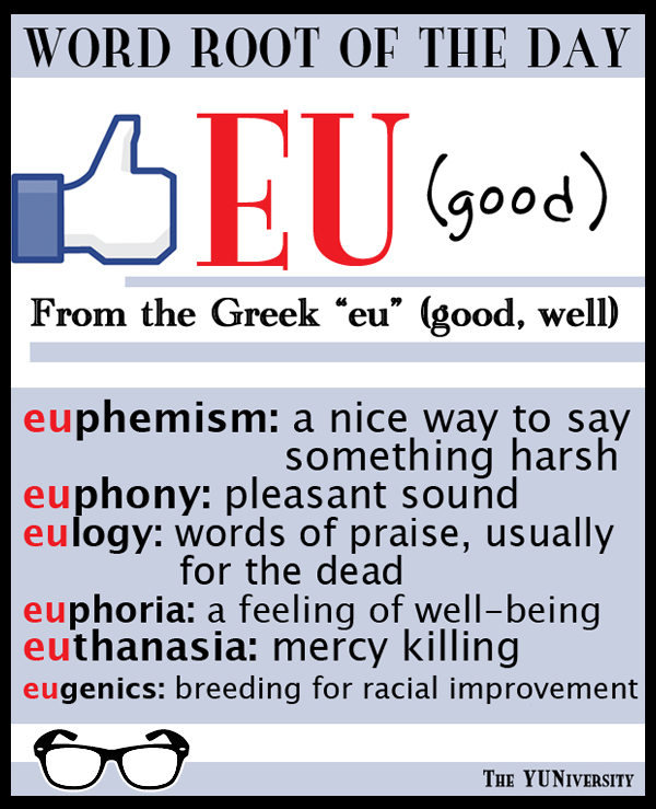 The Yuniversity On Twitter Word Root Eu Good Example Words