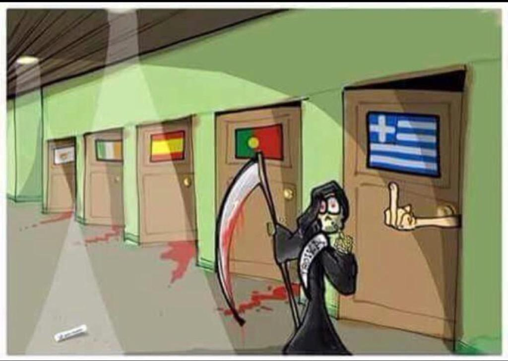 Greece gives austerity foisted on them by the Troika the middle finger.
