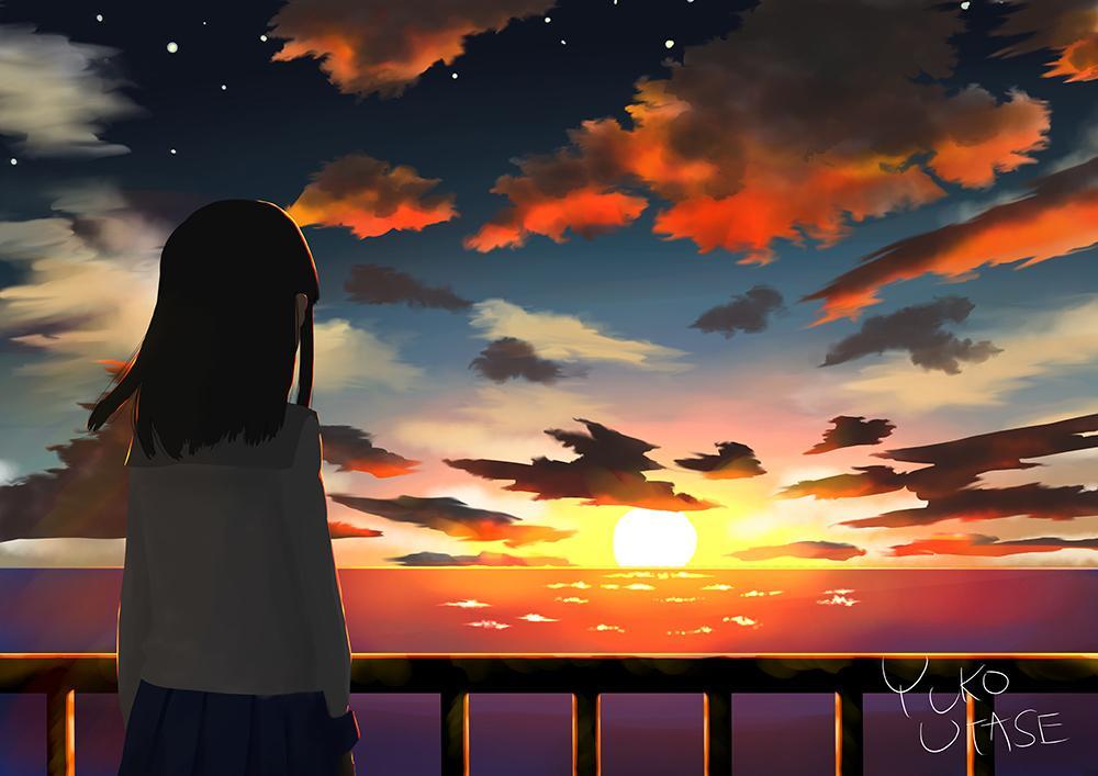 打瀬ユウコ On Twitter 夕焼けと女の子 イラスト 夕焼け 風景