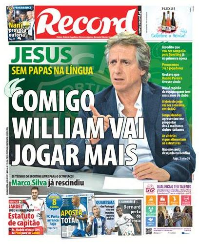 William Carvalho isnt joining Arsenal, as Sporting boss Jorge Jesus says midfielder will play more [Record]