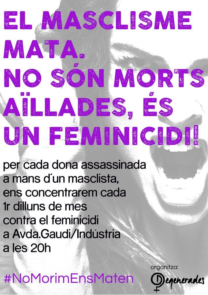3 feminicidis en 48h!!!!! Avui a 20h a Avda.Gaudí/Indústria convocatòria contra el #feminicidi a l'Eixample http://t.co/1MSLLo0BdM